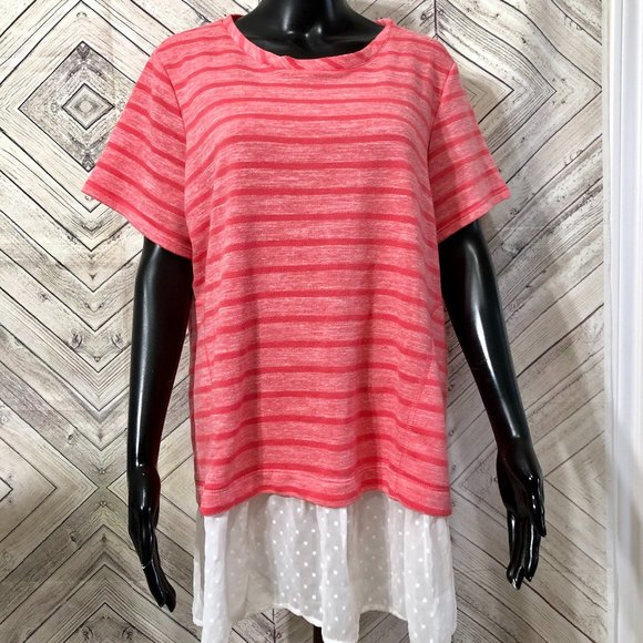LOGO Lori G 1X coral pink striped white swiss dot